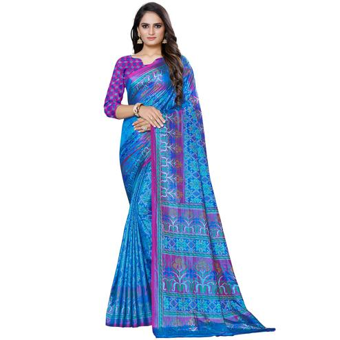 Hypnotic Blue Colored Casual Printed Art Silk Saree