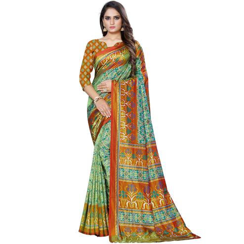Flattering Green Colored Casual Printed Art Silk Saree