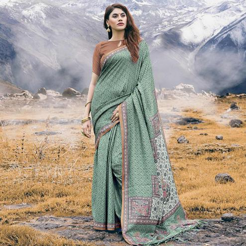 Ideal Green Colored Festive Wear Printed Pashmina Silk Saree