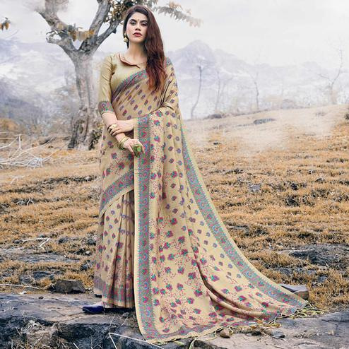 Imposing Beige Colored Festive Wear Printed Pashmina Silk Saree