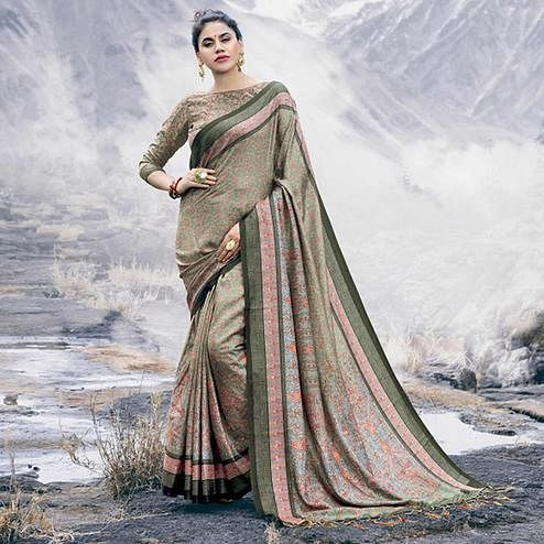 Lovely Pastel Olive Green Colored Festive Wear Printed Pashmina Silk Saree