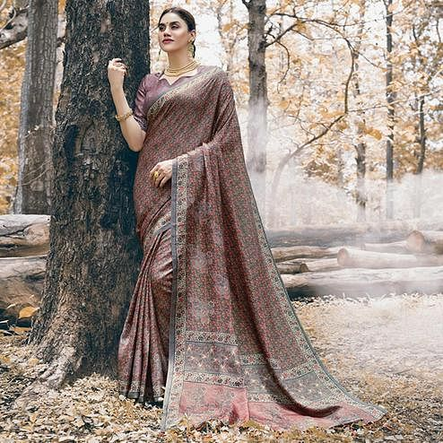 Majesty Mauve Colored Festive Wear Printed Pashmina Silk Saree