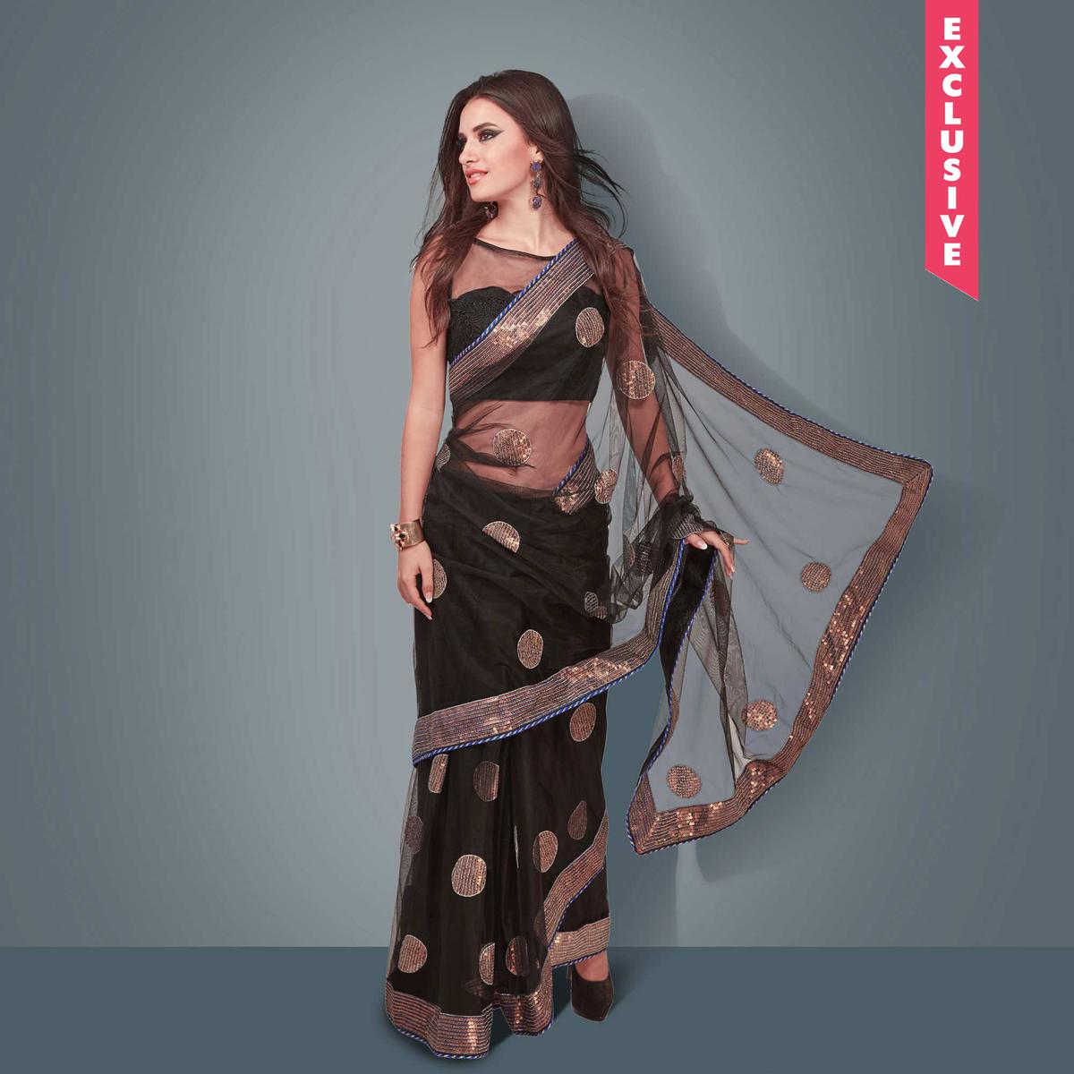 Black Patch And Lace Border Work Saree