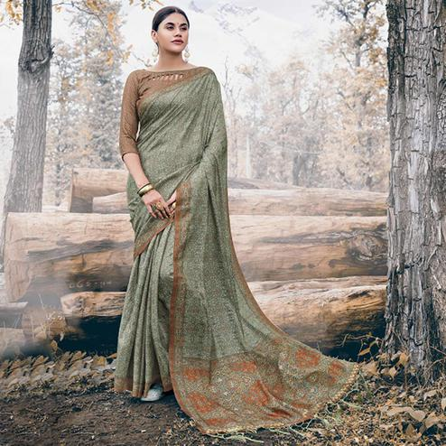 Impressive Olive Green Colored Festive Wear Printed Pashmina Silk Saree
