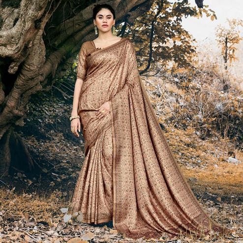 Excellent Light Brown Colored Festive Wear Printed Pashmina Silk Saree