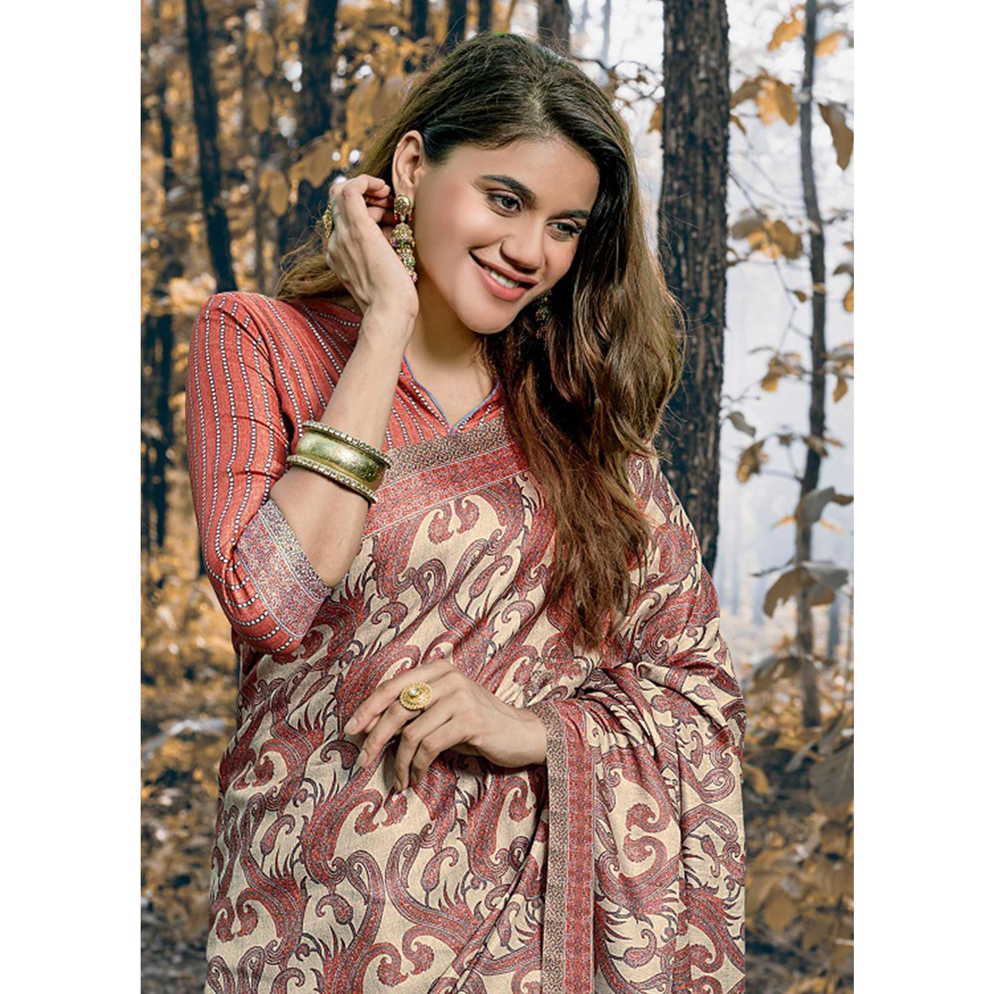 Arresting Beige Colored Festive Wear Printed Pashmina Silk Saree