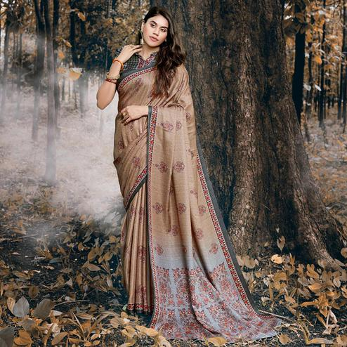 Trendy Light Brown Colored Festive Wear Printed Pashmina Silk Saree