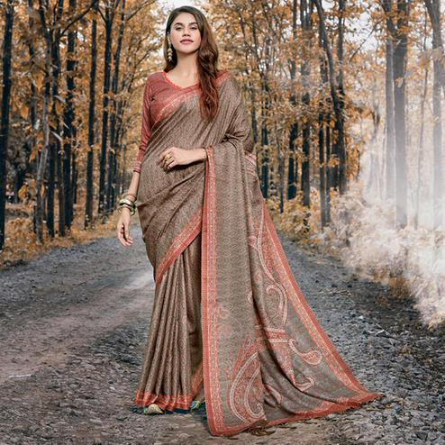Elegant Brown Colored Festive Wear Printed Pashmina Silk Saree