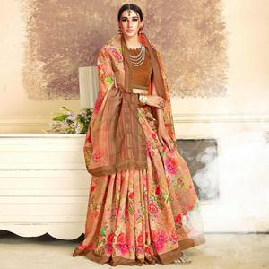 Appealing Peach Colored Casual Printed Art Silk Saree