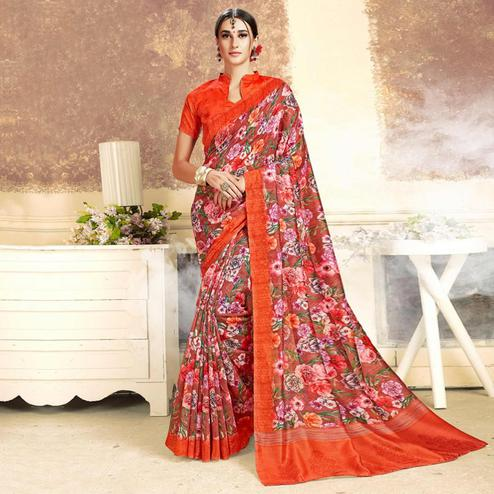 Capricious Red Colored Casual Printed Art Silk Saree