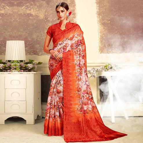 Entrancing White-Red Colored Casual Printed Art Silk Saree