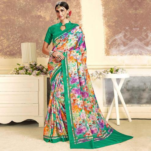 Groovy White-Green Colored Casual Printed Art Silk Saree