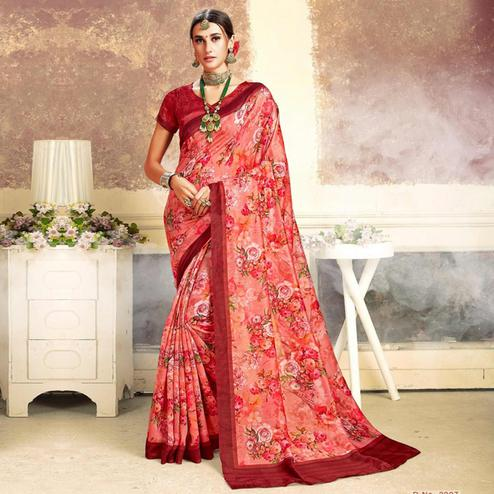 Prominent Tomato Red Colored Casual Printed Art Silk Saree