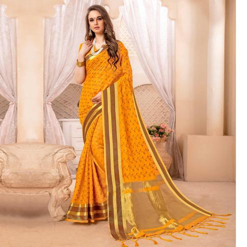 Ideal Yellow Colored Festive Printed Art Silk Saree