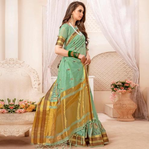 Gorgeous Light Green Colored Festive Printed Art Silk Saree