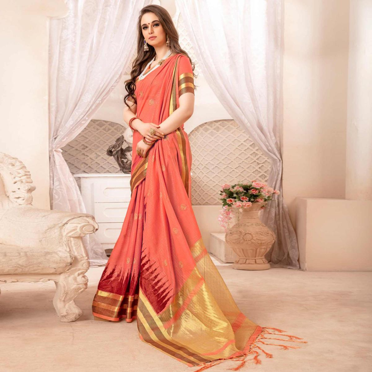 Amazing Coral Red Colored Festive Printed Art Silk Saree