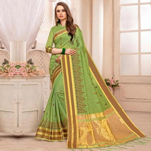 Fantastic Green Colored Festive Printed Art Silk Saree