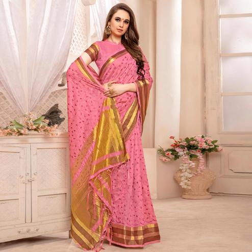 Eye-catching Pink Colored Festive Printed Art Silk Saree