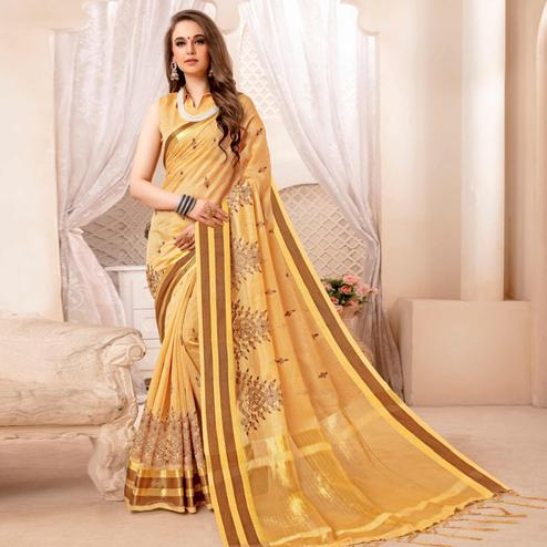 Innovative Beige Colored Festive Printed Art Silk Saree
