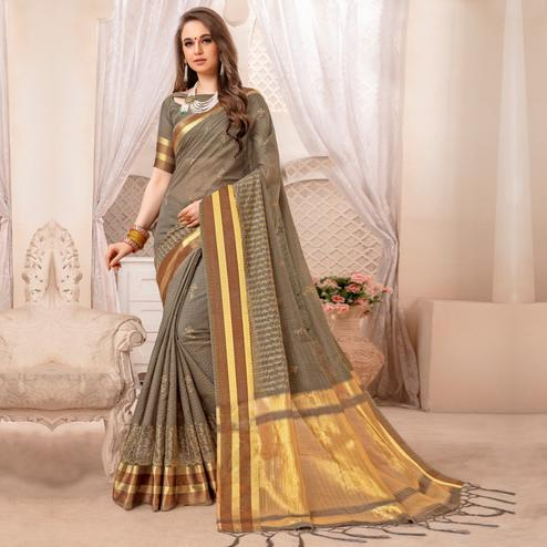Captivating Grey Colored Festive Printed Art Silk Saree