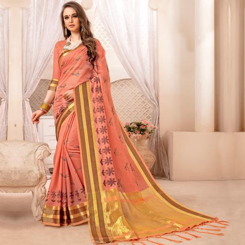 Engrossing Peach Colored Festive Printed Art Silk Saree