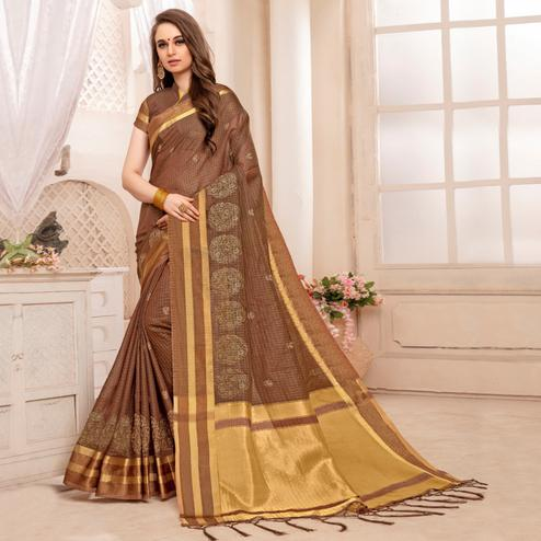 Delightful Coffee Brown Colored Festive Printed Art Silk Saree