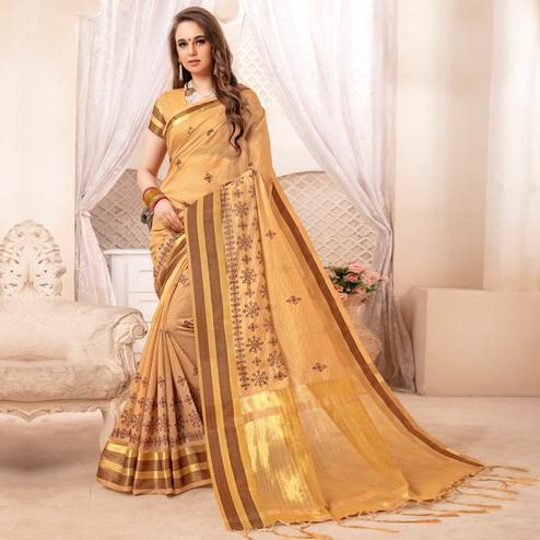 Jazzy Light Yellow Colored Festive Printed Art Silk Saree