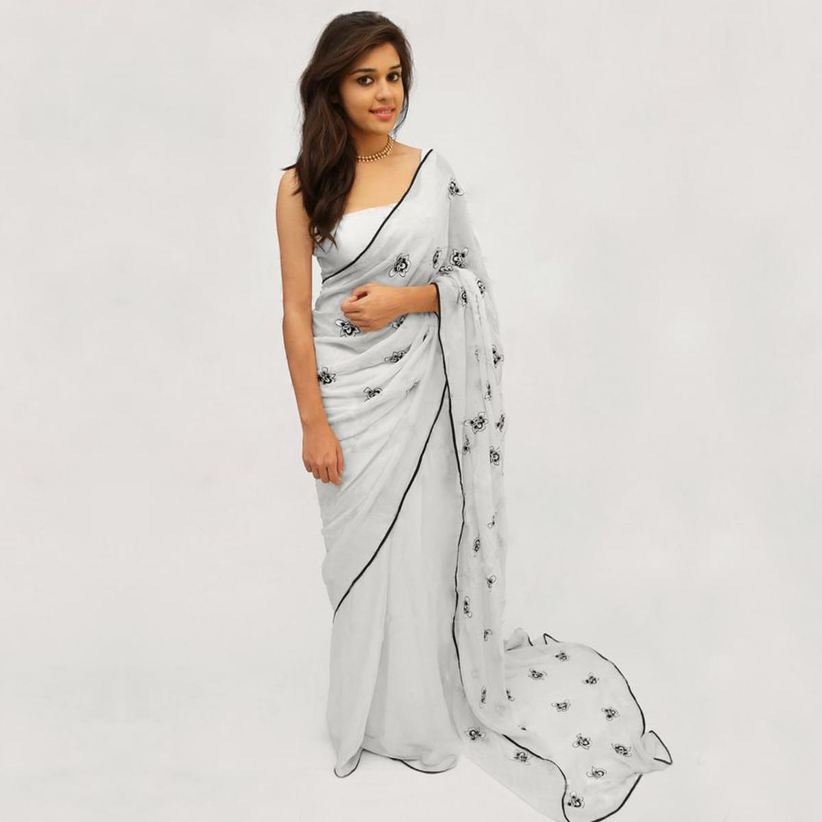 Alluring White Colored Partywear Embroidered Faux Georgette Saree