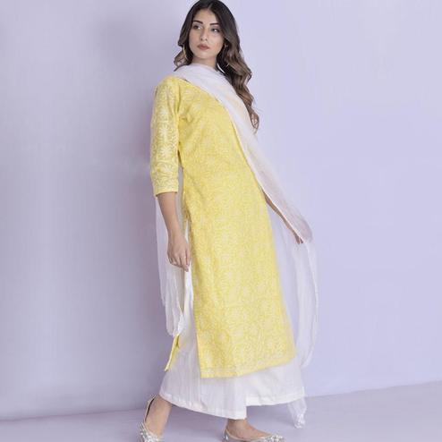 Desiring Yellow Colored Casual Embroidered Georgette Dress Material