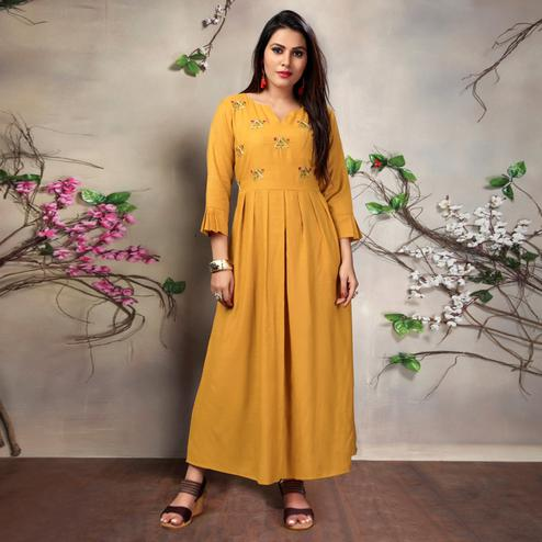 Jazzy Mustard Yellow Colored Casual Embroidered Cotton Kurti