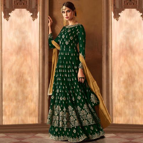Intricate Dark Green Colored Partywear Embroidered Georgette Lehenga Kameez