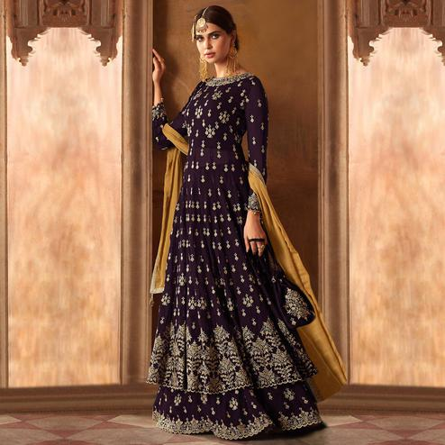 Arresting Dark Violet Colored Partywear Embroidered Georgette Lehenga Kameez
