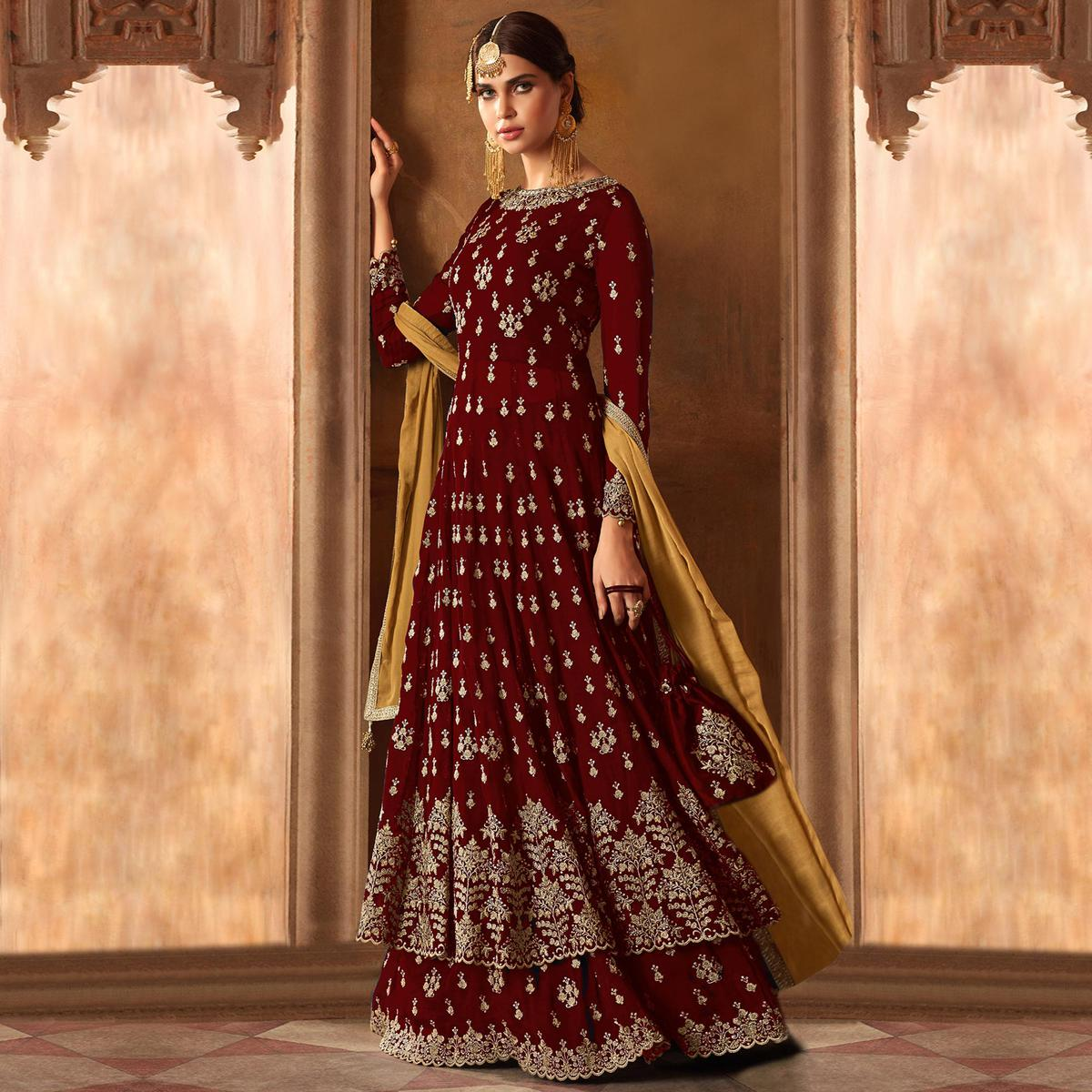 Desirable Red Colored Partywear Embroidered Georgette Lehenga Kameez