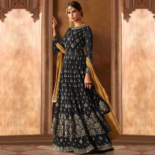 Sophisticated Dark Gray Colored Partywear Embroidered Georgette Lehenga Kameez