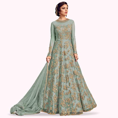 Arresting Teal Gray Colored Partywear Embroidered Netted Anarkali Suit