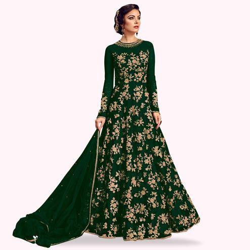 Desirable Green Colored Partywear Embroidered Netted Anarkali Suit