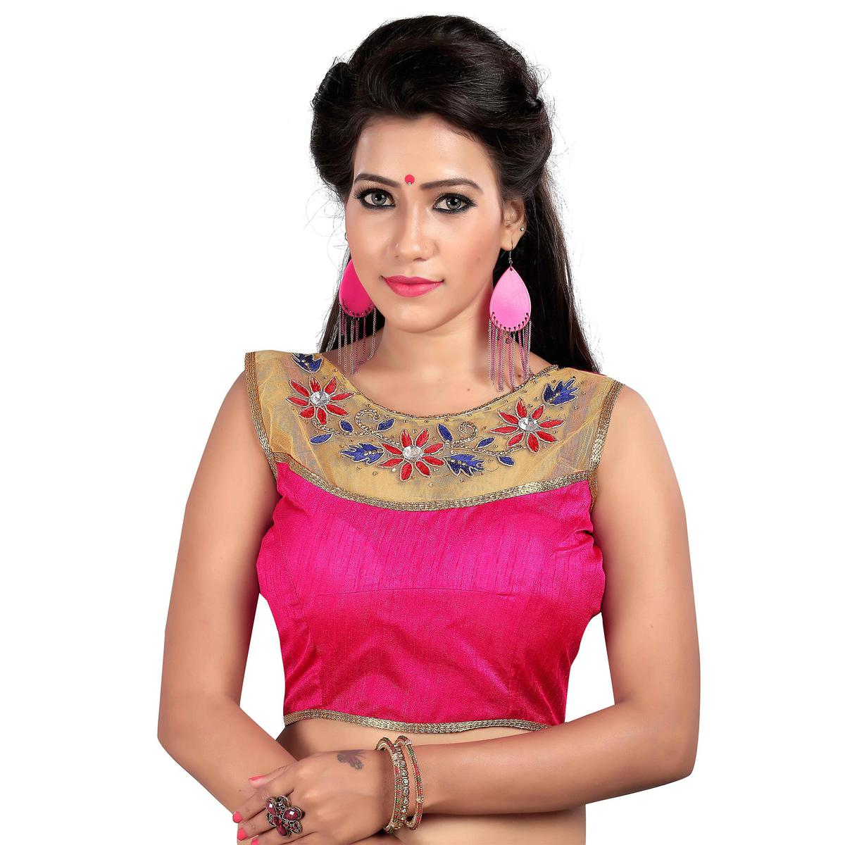 Pink Embroidered Work Designer Blouse