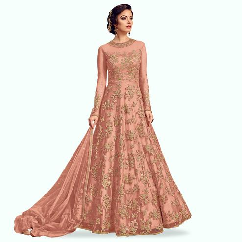 Sophisticated Peach Colored Partywear Embroidered Netted Anarkali Suit