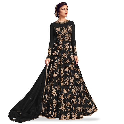 Trendy Black Colored Partywear Embroidered Netted Anarkali Suit