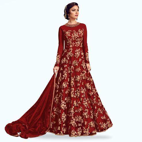 Opulent Red Colored Partywear Embroidered Netted Anarkali Suit