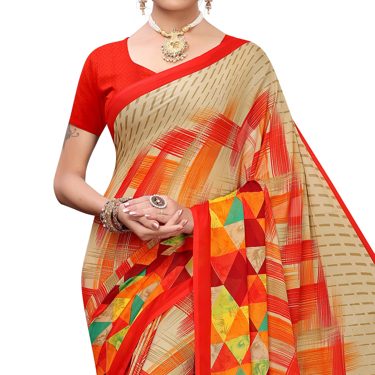 Adorable Red Colored Casual Printed Georgette Saree