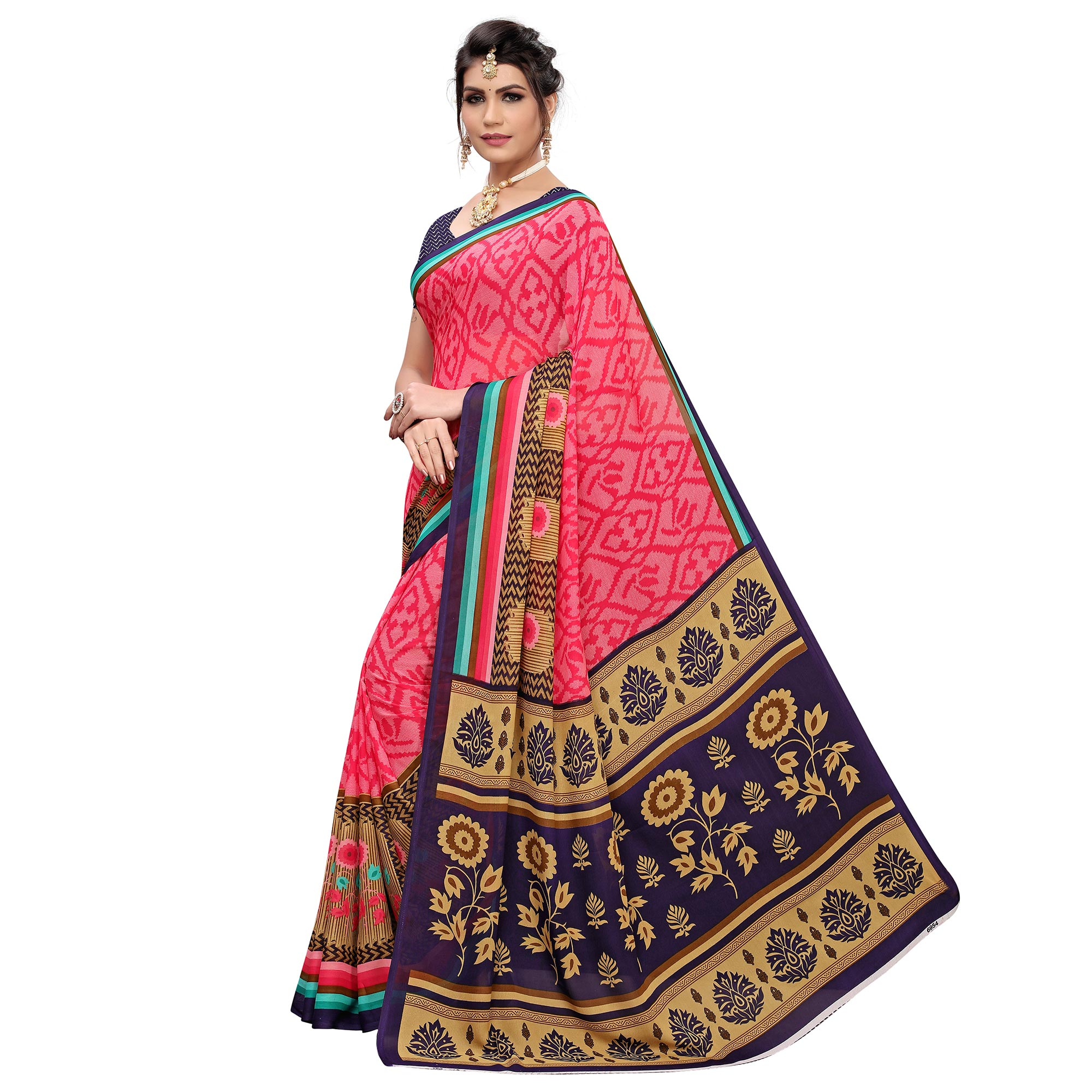 Glorious Pink Colored Casual Printed Georgette Saree