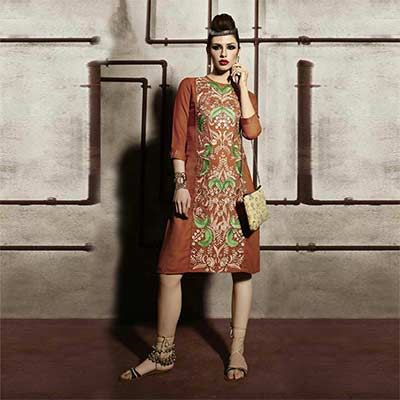 Rust Brown Embroidered Work Tunic