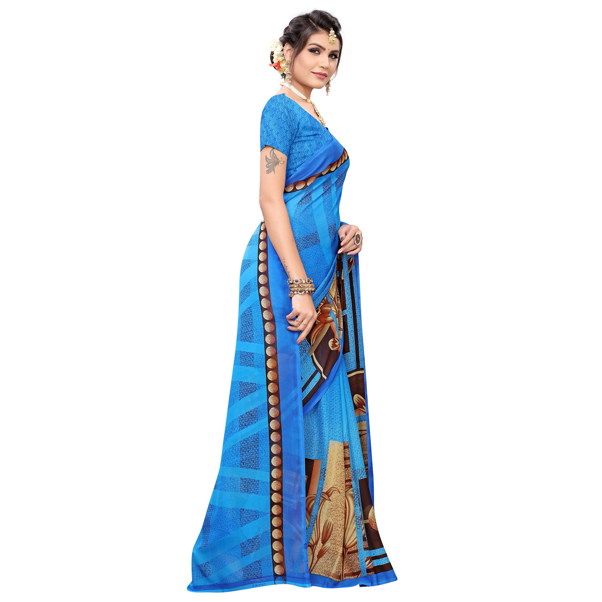 Attractive Blue Colored Casual Printed Georgette Saree