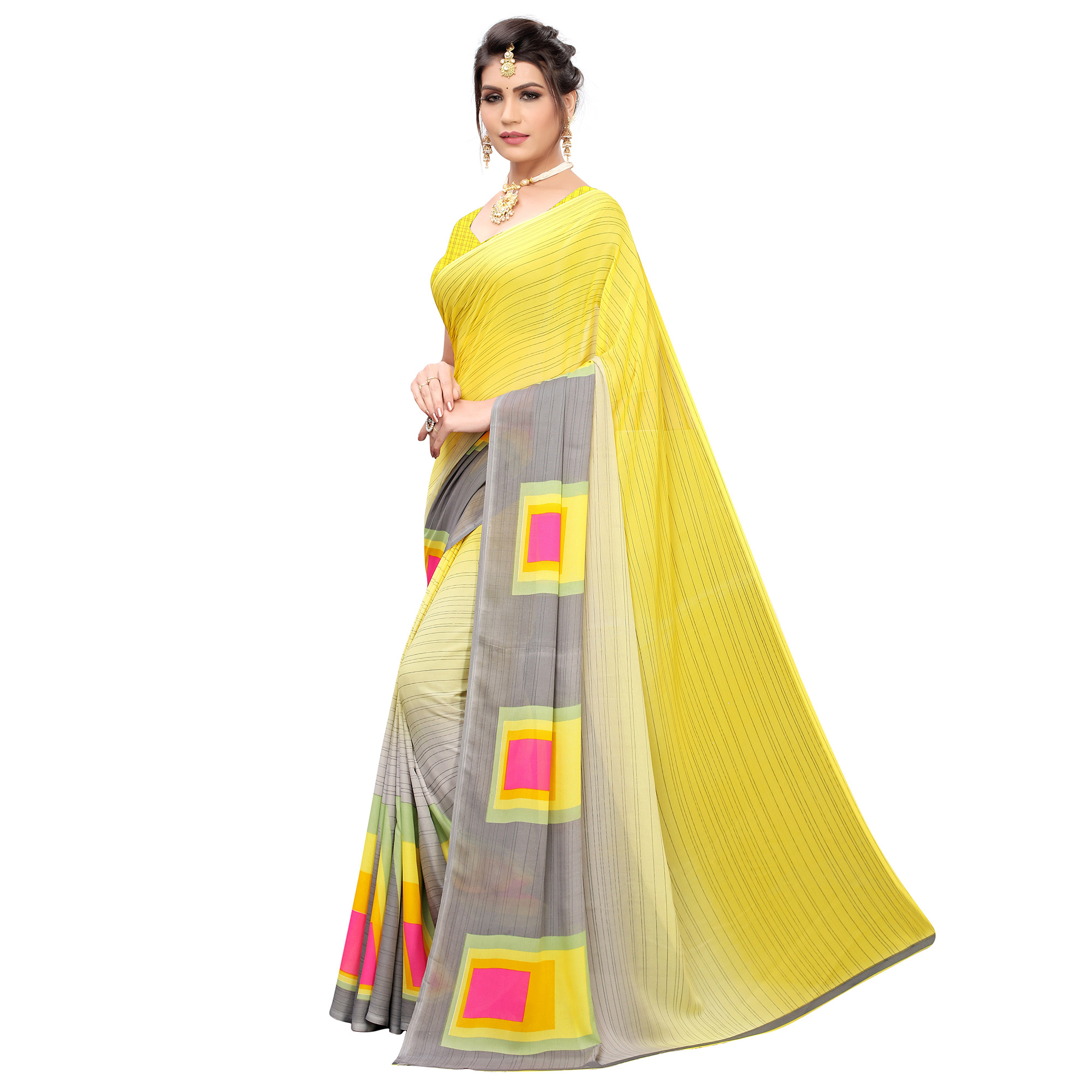 Beautiful Yellow Colored Casual Printed Georgette Saree