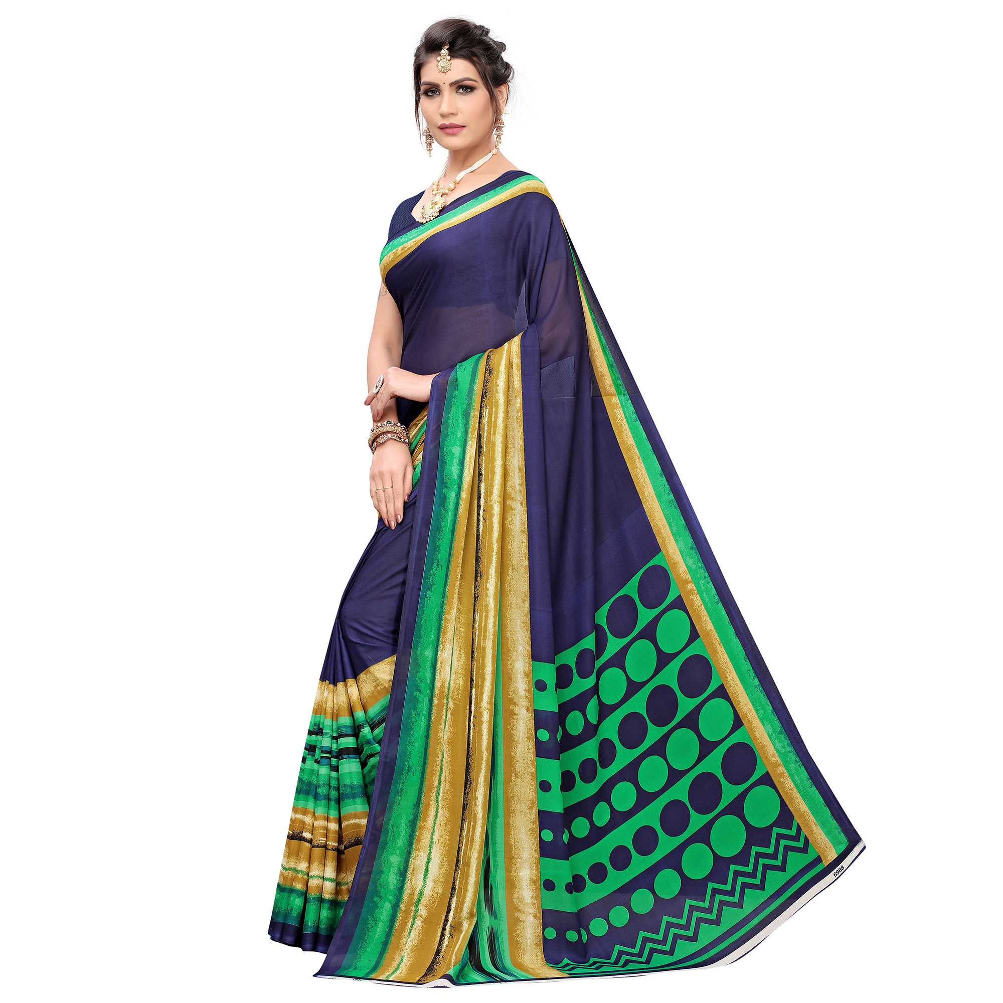 Graceful Navy Blue Colored Casual Printed Georgette Saree