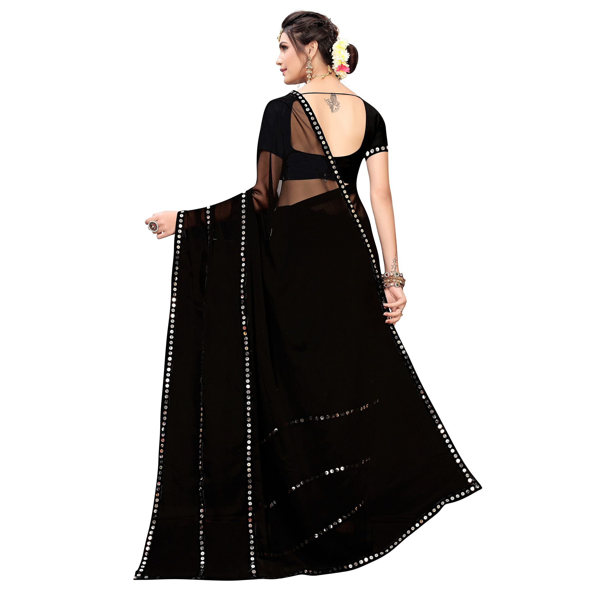 Blooming Black Colored Casual Wear Georgette Saree