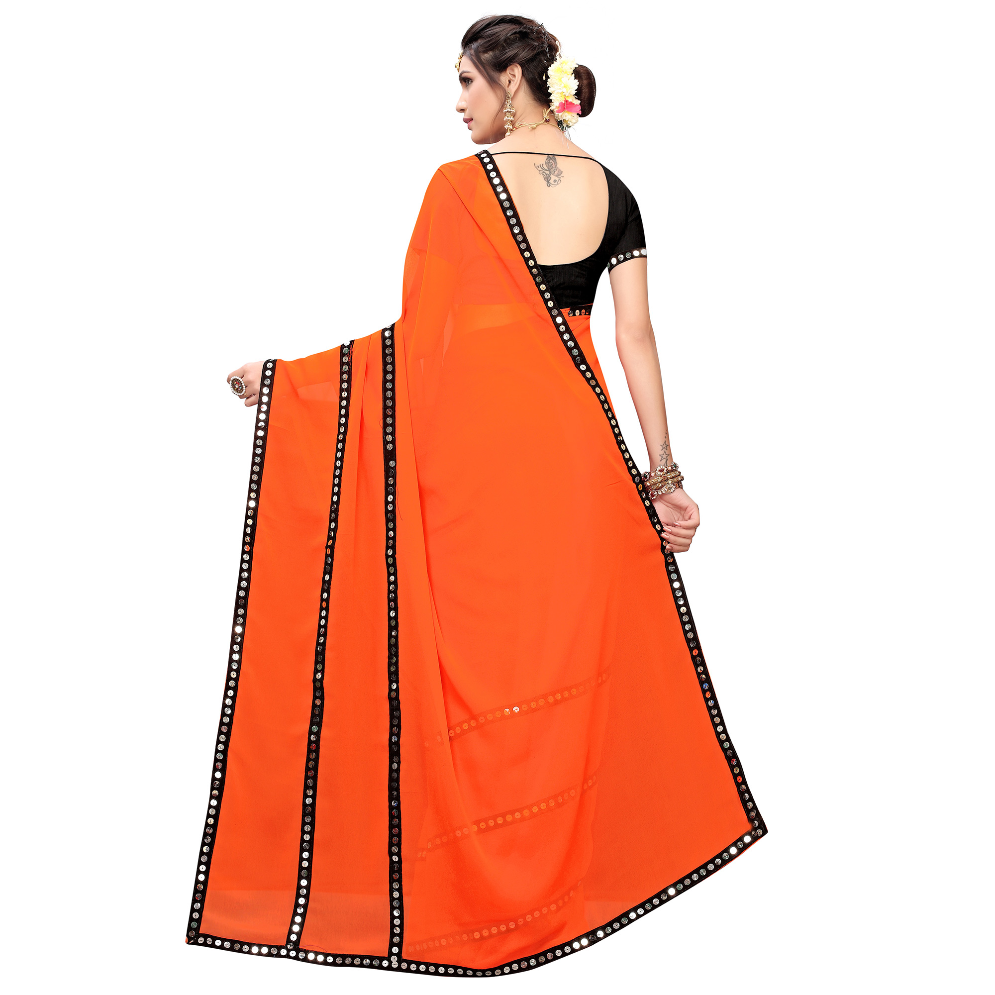 Charming Orange Colored Casual Wear Georgette Saree