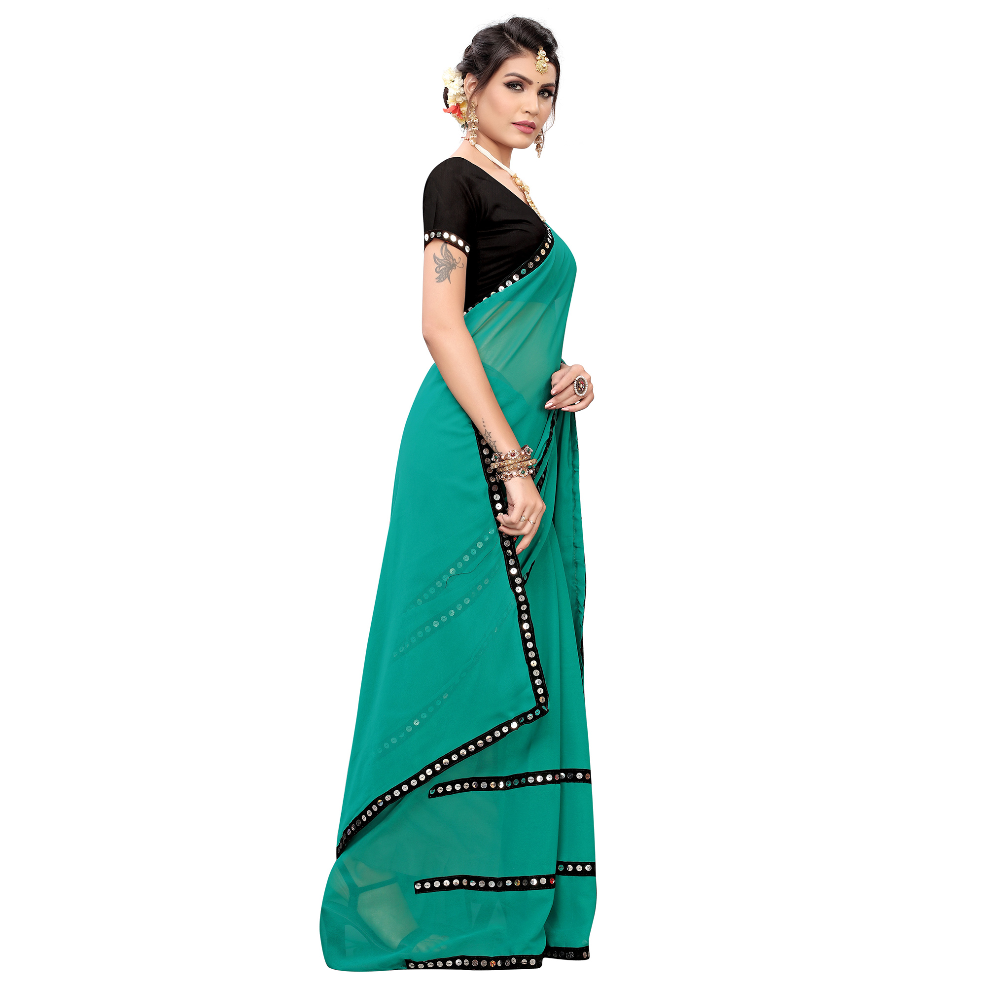 Jazzy Turquoise Green Colored Casual Wear Georgette Saree