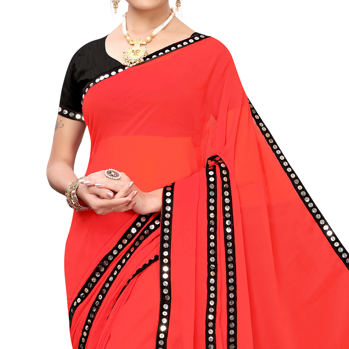 Delightful Red Colored Casual Wear Georgette Saree